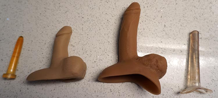 A Guide to Packers For Transmen/FTMs. Some packers come with optional hard shafts that turn them into penetrative sex toys. These can be a lot of fun. They come in a wide range of sizes, too. These two were a small and a large. A Guide to Packers For Transmen and FTMs